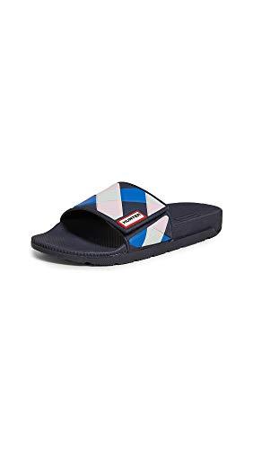 Hunters Boots Women's Original Adjustable Gingham Slides, Navy, Blue, Plaid, 7 M US -