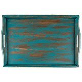 XXL LARGE WOODEN SERVING TRAY DISTRESSED TURQUOISE RUSTIC WOOD OTTOMAN 24″ x 16″ For Sale