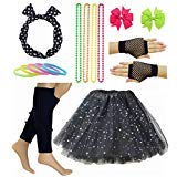 Girl 80s Star Sequin Tutu Skirt with Neon Necklace Bow Headband Hair Clip Set (Black)