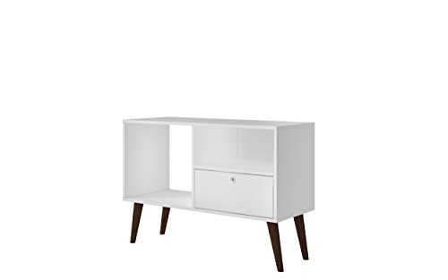 - Manhattan Comfort Bromma Collection Mid Century Modern TV Stand With Open Cubby Space and One Drawer With Splayed Legs, White