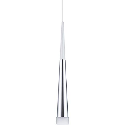 Modern Kitchen Island Pendant Lighting, Adjustable LED Cone Pendant Light with Silver Plating Chrome Finish Acrylic Shade for Dining Rooms 7W, Warm White 3000K Upgraded Version 1 Pack (Pendant Silver Lighting)