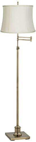 Westbury Swing Arm Floor Lamp Adjustable Antique Brass Creme Fabric Drum Shade for Living Room Reading Bedroom Office - 360 - Brass Swing Arm Floor Lamp