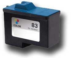 83 Printer Inkjet Cartridge - Ink Now Premium Compatible Lexmark COLOR Ink Jet 18L0042, #83 for Z55, Z65 printers yld