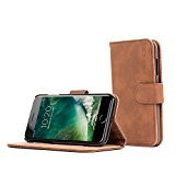 Snugg iPhone 7 Plus and 8 Plus Case Apple iPhone Flip [Card Slots] Leather Wallet Cover Design in Brown, Legacy - Why Is Wood Brown