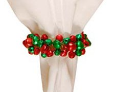 Red & Green Jingle Bell Napkin Rings - Set of 4