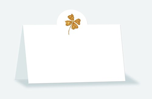 Place cards with filigree gold glitter finish motif: clover leaf