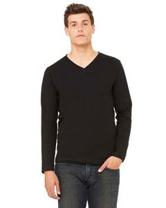 Bella + Canvas Jersey Long-Sleeve V-Neck T-Shirt (3425) Black, M