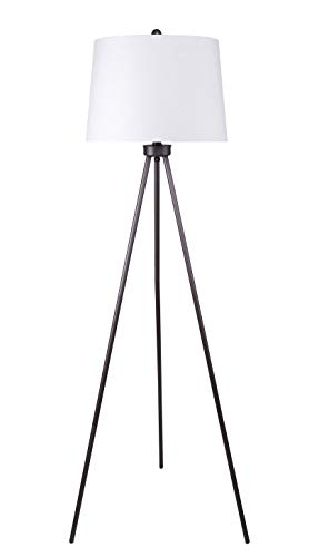 Grandview Gallery 61.75 Modern Slate Gray Tripod Floor Lamp with Natural Linen Tapered Drum Shade – Chic Lighting for Behind The Couch, Free Standing, Reading, The Bedroom, or The Office