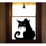 Scary Black Cat Halloween Wall, Car or Spooky Window Cling Small 4.5