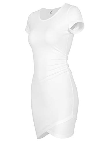Missufe Women's Summer Short Sleeve Fitted Ruched Bodycon Irregular Mini Sheath Dress (Ivory White, Small)