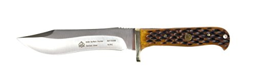 Puma SGB Buffalo Hunter Brown Jigged Bone Hunting Knife with Leather Sheath ()