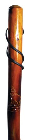 SE 55in. Howling Wolf Carving Wooden Walking Stick, Outdoor Stuffs