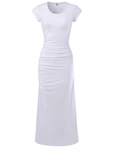 (NEARKIN (NKWBD906 Womens Cap Sleeve Side Shirring Casual Maxi Dress White US XL(Tag Size 2XL))