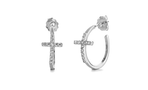 - MIA SARINE Small Cross Cubic Zirconia Hoop Earrings for Women with Post and Nut Backs in Rhodium Plated Sterling Silver (White)
