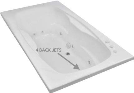 Carver Tubs – AR7242 – Heated Whirlpool 12 Jet – 72 L x 42 W x 20.5 H – Drop In White Acrylic Bathtub Left Hand Motor
