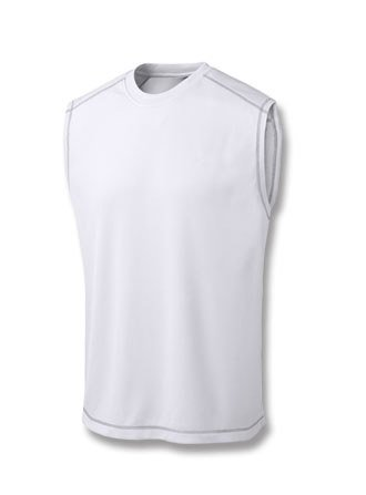 Champion Double Dry Sleeveless (Champion 4.1 oz. Double Dry Muscle T-Shirt with Odor Resistance - WHITE -)