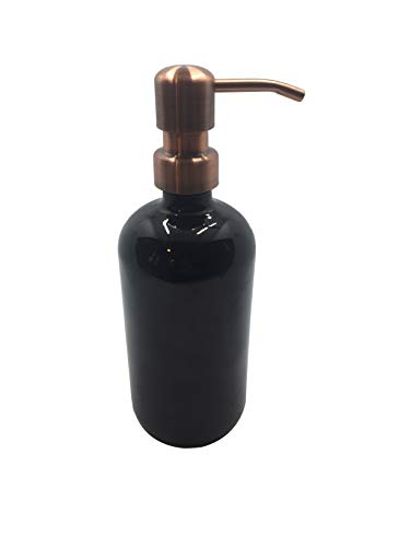 Industrial Rewind Black Glass Soap Dispenser with Metal Pump - 16oz Glass Jar for Liquid Soap, Lotion or Shampoo (Copper Pump)
