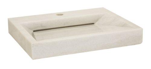 Lenova SV-60 Stone Vessel Bathroom Sink, White Marble Stone Sinks