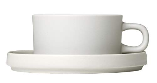 (blomus Tea Cups with Saucers 170 ML / 6 Ounce - Set of 2 - Moonbeam/Beige MIO)