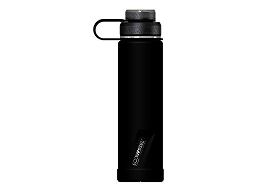 EcoVessel Boulder TriMax for Hot and Cold Drinks Vacuum Insulated Stainless Steel Water Bottle with Insulated Stainless Steel Lid and Tea, Fruit, Ice Strainer - 24 oz - Black Shadow