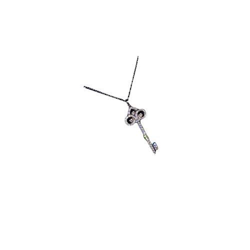 Diamond Pave Jewelry Box - Libaraba 925 Silver Diamond Accent Pave Filigree Iris Pattern Key Pendant Necklace with Jewelry Box,Short Iris Necklace for Women (Silver)