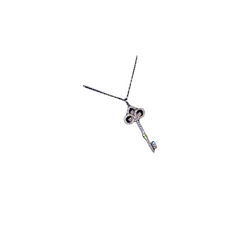 Libaraba 925 Silver Diamond Accent Pave Filigree Iris Pattern Key Pendant Necklace with Jewelry Box,Short Iris Necklace for Women (Silver)