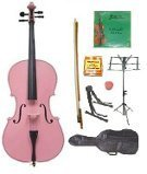 GRACE 3/4 Size Pink Cello with Bag and Bow+Rosin+Extra Set of Strings+Tuner+Cello Stand+Music Stand
