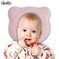 Newborn Head Shaping Pillow- Soft Memory Foam Baby Pillow for Neck Support and Flat Head Syndrome (Plagiocephaly) Prevention- Pink