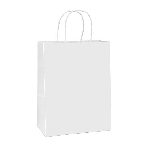 BagDream Paper Bags 10x5x13 100Pcs White Kraft Paper Gift Bags, Shopping Bags, Merchandise Bags, Retail Bags, Party Bags, Gift Bags with Handles Bulk, 100% Recycled Paper Bags (Shopping Gift Bags)