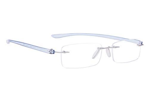 Rimless Reading Glasses Small Readers Men Women(Blue,+1.75)