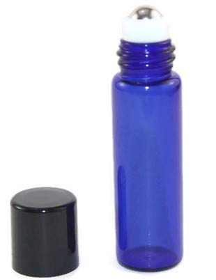 Essential Oil Roller Bottle 144 - 5ml COBALT BLUE Glass Vial/Bottle Micro Roller (144) w/ Stainless Steel Roller Inserts and Flat Black Screw Caps - Pack of 144 ()