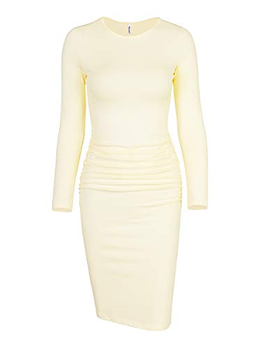 ed Casual Sundress Midi Bodycon Sheath Dress (Small, Long Sleeve Crew Beige) ()