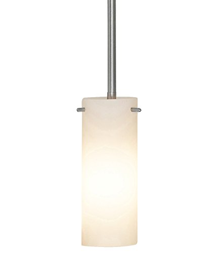 NEW Simple Modern Glass Pendant Light | Contemporary Sleek Cylinder Design | Frosted Fixture (Rod Angled Closet Bracket)