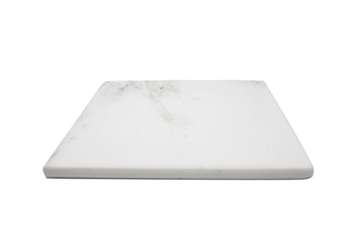 (Marble Object Natural Stone 8'' x 8'' Jewelry Tray, Candle Base, Key Tray, Wallet Tray, Office Desk Tray and Trivet with Cork Backing (White Carrara))