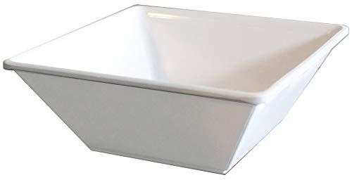 Square Break Resistant Melamine Bowls with Scraper, 6-Pack, White (6 Inches, 16 Ounce)