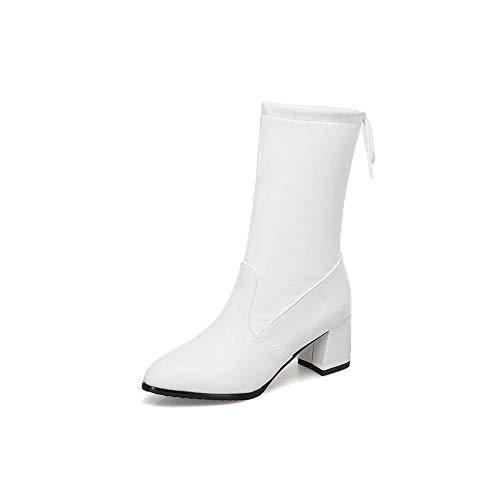 Cuero 34 Pierna Todos Pu Los La 2019 White Mujer Media A De Plataforma En 42 Tamaño Resbalón Invierno Hoesczs Moto Zapatos Botas Fósforos wIfqR8xR7