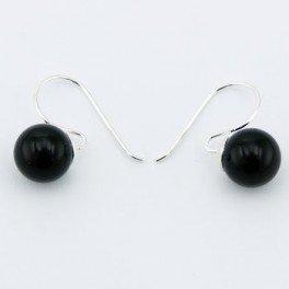 bijoucolor - Dormeuses agate noire et argent