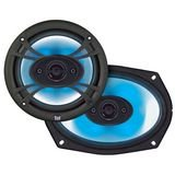 Dual SBX694 6 x 9-Inch 4-Way 150 Watts illumiNITE Star Burst Speaker System - Blue Led 4 Way Speakers