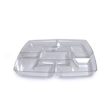 (Maryland Plastics Clear Square Plastic Compartment Serving Tray 12-Inch…)