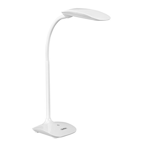 vonhaus white led desk lamp with touch control flexible gooseneck u0026 3 level dimmer college student bedroom office hobby or modern table lamp