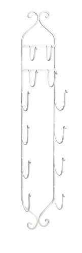 IMAX 97480 Towel - Wine Rack in White - Compact, Wall Mounted Clever Cast Iron Display Rack for Organizing Towels, Wine Bottles or Hanging Hats. Classic Furniture (Chrome Wine Rack)