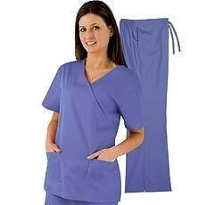 Natural Uniforms Women's Mock Wrap Scrub Set (Ceil Blue) (Pant Set Comfy Wrap)