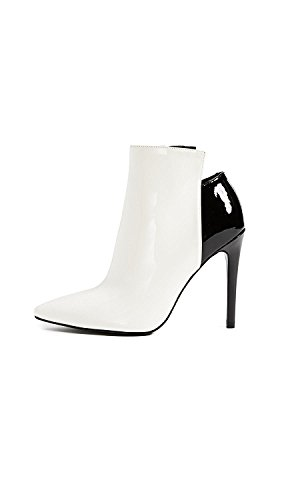 KENDALL + KYLIE Women's Ariana Pointed Toe Booties, White/Black, 10 B(M) - Kylie And Kendall Black White And