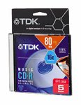 TDK 80-Minute CD-R Discs (5-Pack) (CDR80TWNML5TG) (Discontinued by Manufacturer)