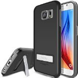 Galaxy S6 Case, OBLIQ [Skyline Advance][Black/Gray] Kickstand Thin Bumper Armor Scratch Resist Fit Metallic Finish Dual Layered Heavy Duty Hard Protection Hybrid Clear Case (for Samsung Galaxy S6)