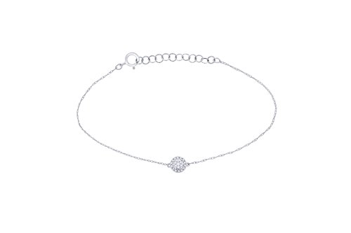 (IGI Certified 10k White Gold Round Natural Diamond Halo Frame Extendable Fashion Bracelet (0.1 Cttw))