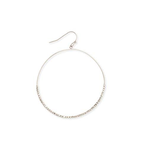 - Zen Styles Women's Large Hoop Earrings in Silver Tone, Dewdrops Sparkling Beads Circle Dangling, 2