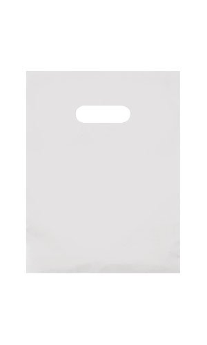 - 9 x 12 Frosted Extra Thick 2.5 mil Merchandise/Gift Bag with Die-Cut Handles (Pack of 25) (Clear)