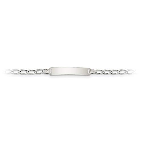 (Brilliant Bijou Solid .925 Sterling Silver Polished Engraveable Children's ID Bracelet 6 inches for Baby/Child/Toddler/Boy or Girl with Free Engraving)