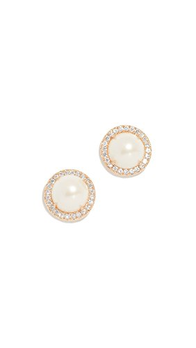 (Kate Spade New York Women's Pave Halo Stud Earrings, Cream/Gold, One Size )